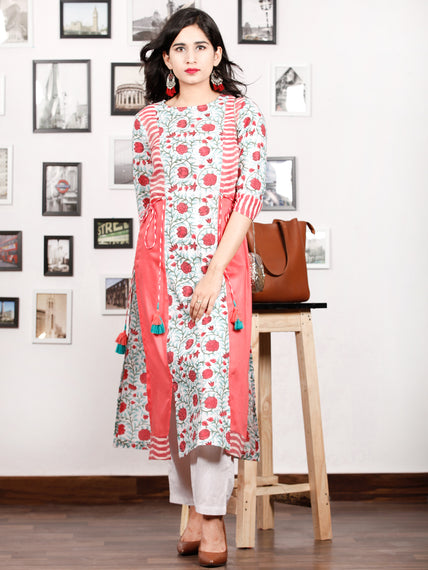 Pink White Green Hand Block Printed & Ikat Kurta in Natural Colors With Tassels - K74F1497