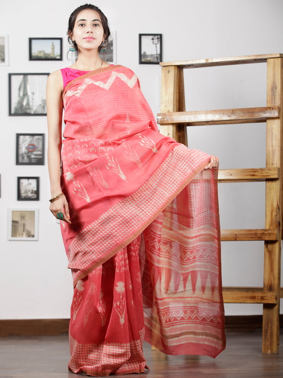Pink Ivory Hand Block Printed Chanderi Silk Saree With Geecha Border - S031702997