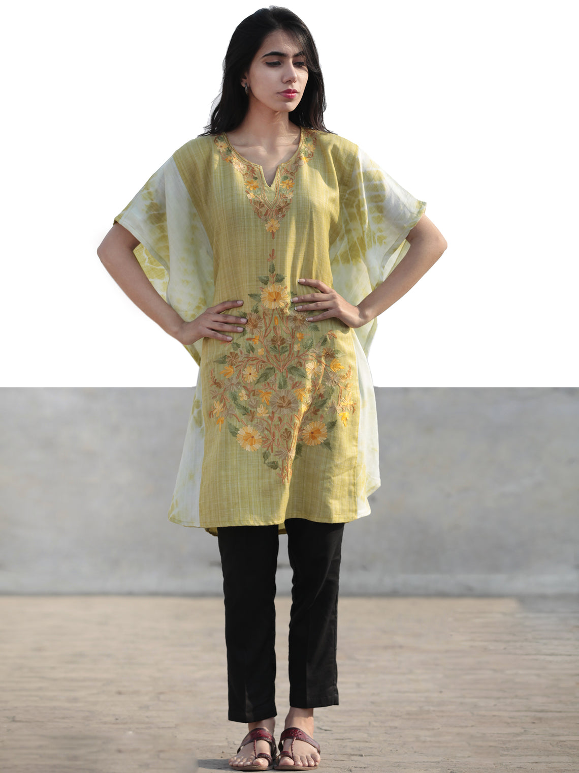 Chartreuse Green Brown Orange Aari Embroidered Short Kashmere Kaftan  - K11K042