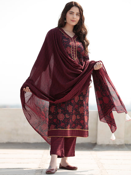 Zohra Fazeen - Set of Straight Kurta Pants & Dupatta - KS50A2506D