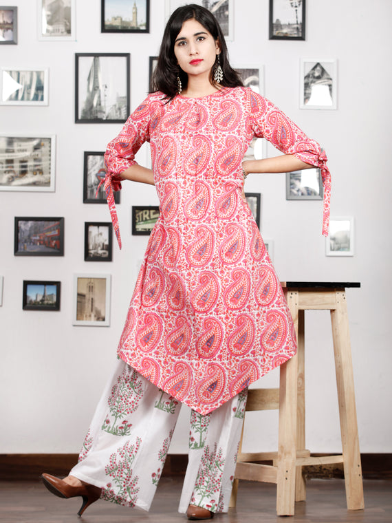 Pink White Blue Hand Block Printed Kurta With Knot sleeves - K89F1480