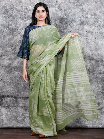 Pistachio Green Ivory Hand Block Printed Kota Doria Saree in Natural Colors - S031703132