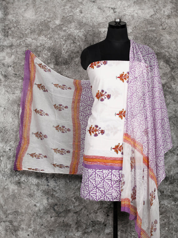 White Lilac Rust Hand Block Printed Cotton Suit-Salwar Fabric With Chiffon Dupatta (Set of 3) - SU01HB393
