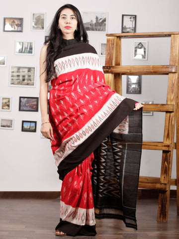 Red Black Ivory Grey Pink Ikat Handwoven Pochampally Mercerized Cotton Saree - S031701584