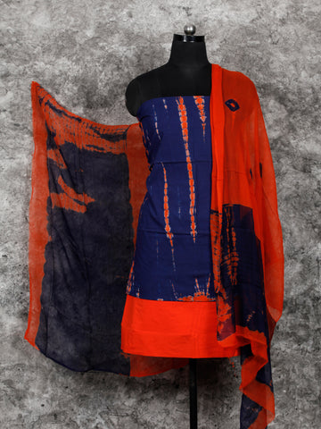 Indigo Red Shibori Hand Block Printed Cotton Suit-Salwar Fabric With Chiffon Dupatta (Set of 3) - SU01HB394