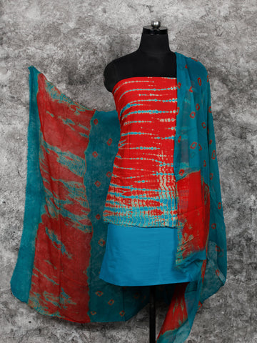 Coral SkyBlue Shibori Hand Block Printed Cotton Suit-Salwar Fabric With Chiffon Dupatta (Set of 3) - SU01HB395