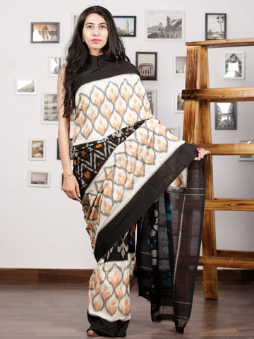 Ivory Black Orange Blue Ikat Handwoven Pochampally Mercerized Cotton Saree - S031701531