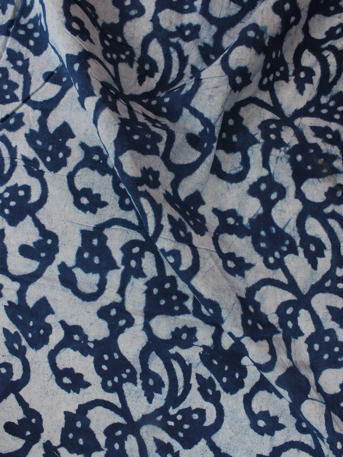 Indigo White Hand Block Printed Cotton Fabric Per Meter - F0916330