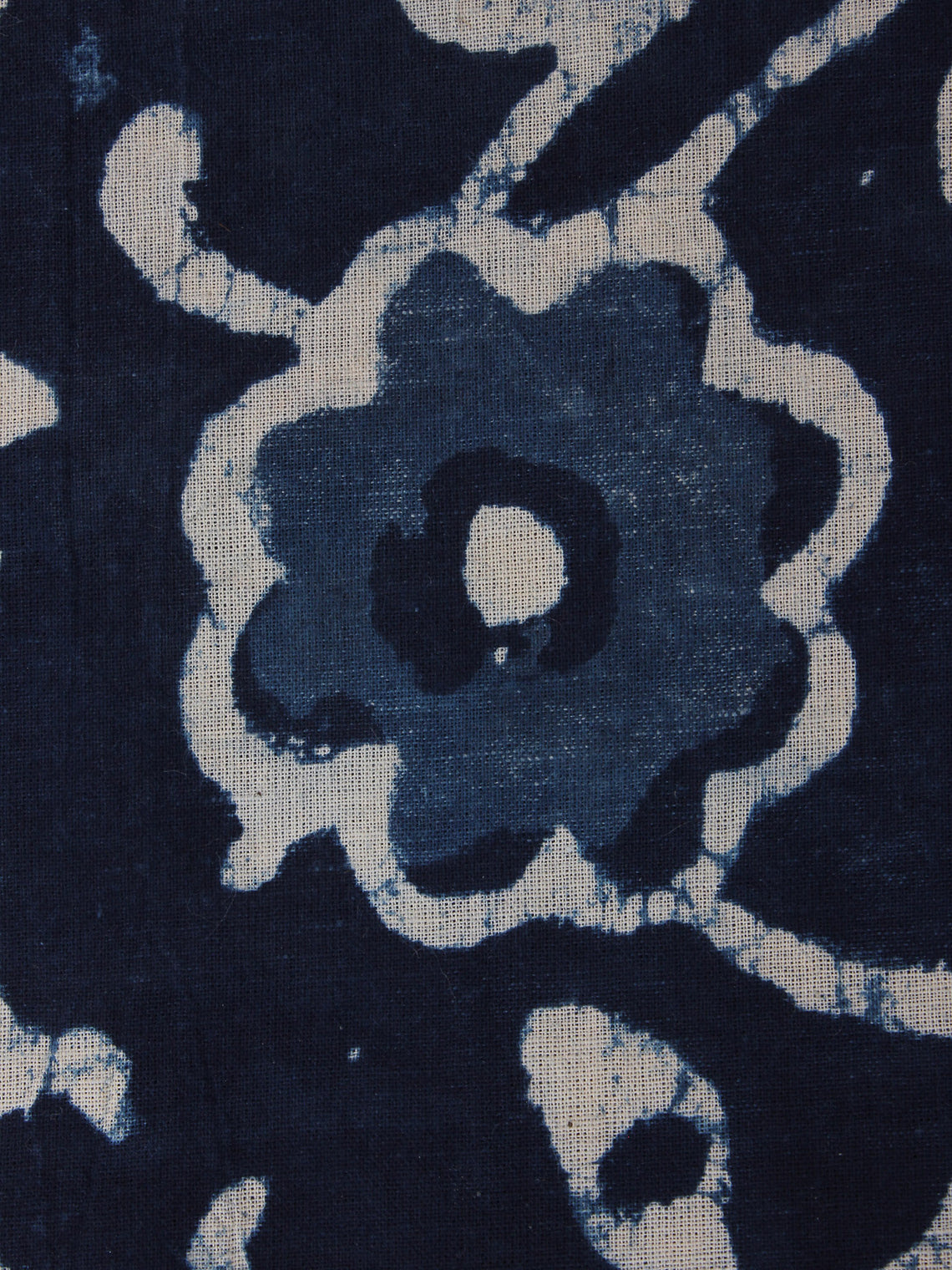 Indigo Blue White Hand Block Printed Cotton Fabric Per Meter - F0916015
