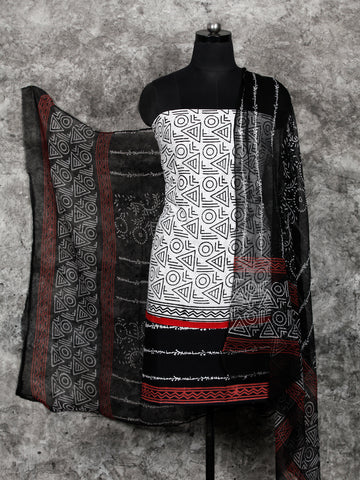 White Black Hand Block Printed Cotton Suit-Salwar Fabric With Chiffon Dupatta (Set of 3) - SU01HB397