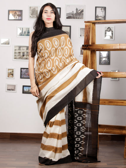 Olive Green Black Ivory Ikat Handwoven Pochampally Mercerized Cotton Saree - S031701429