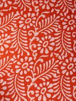 Orange White Hand Block Printed Cotton Fabric Per Meter - F0916340