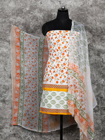 White Orange Green Hand Block Printed Cotton Suit-Salwar Fabric With Chiffon Dupatta (Set of 3) - SU01HB396