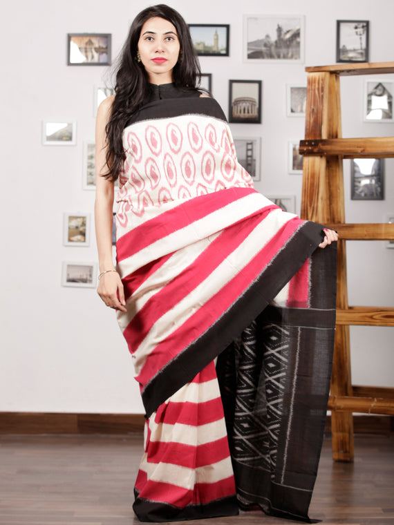 White Pink Black Ikat Handwoven Pochampally Mercerized Cotton Saree - S031701261