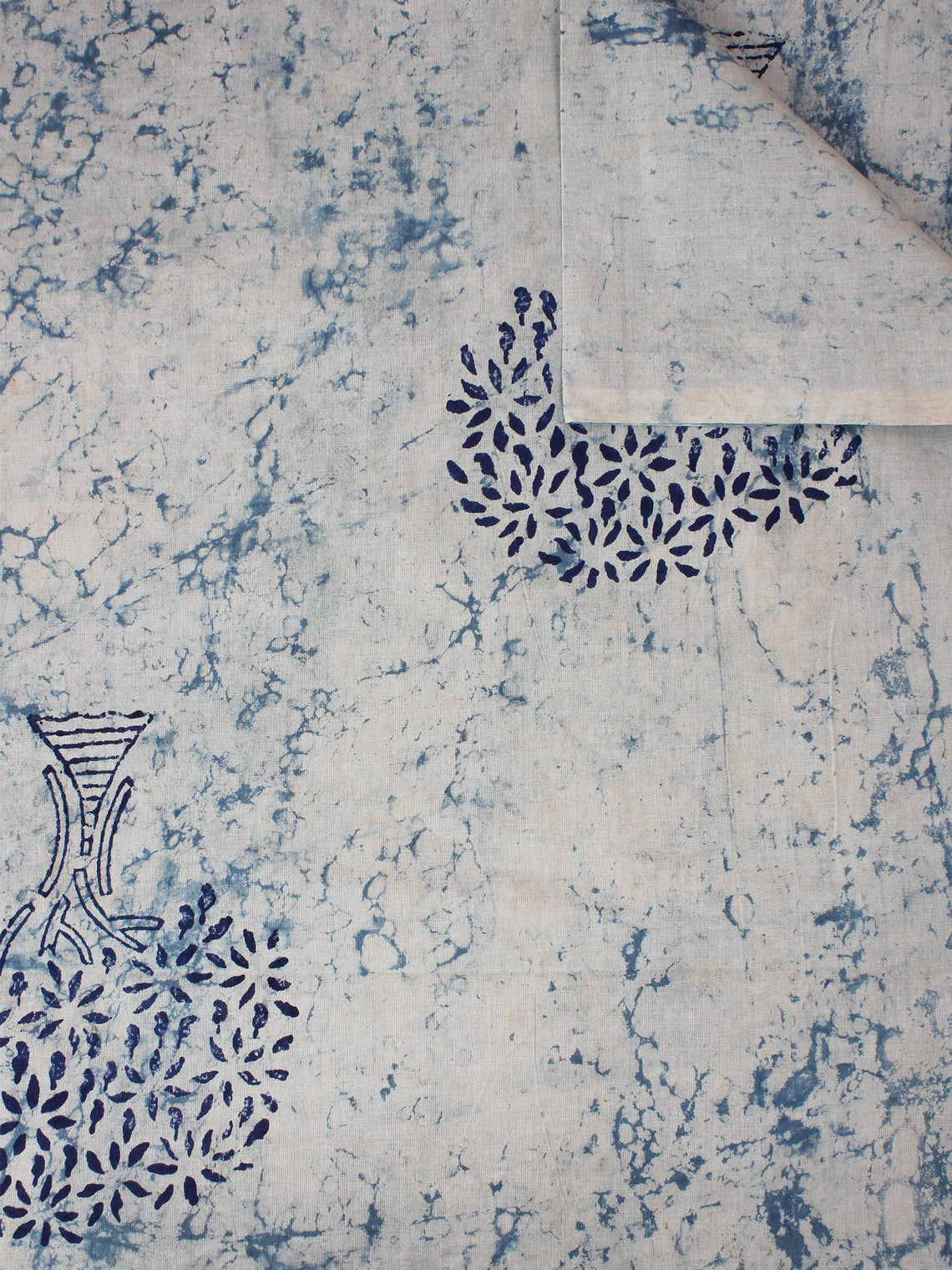 Ivory Indigo Natural Dyed Hand Block Printed Cotton Fabric Per Meter - F0916309
