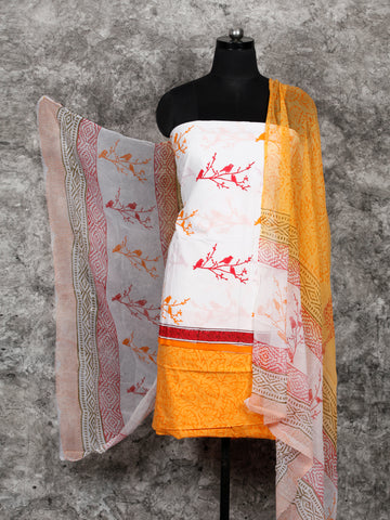 White Orange Hand Block Printed Cotton Suit-Salwar Fabric With Chiffon Dupatta (Set of 3) - SU01HB399