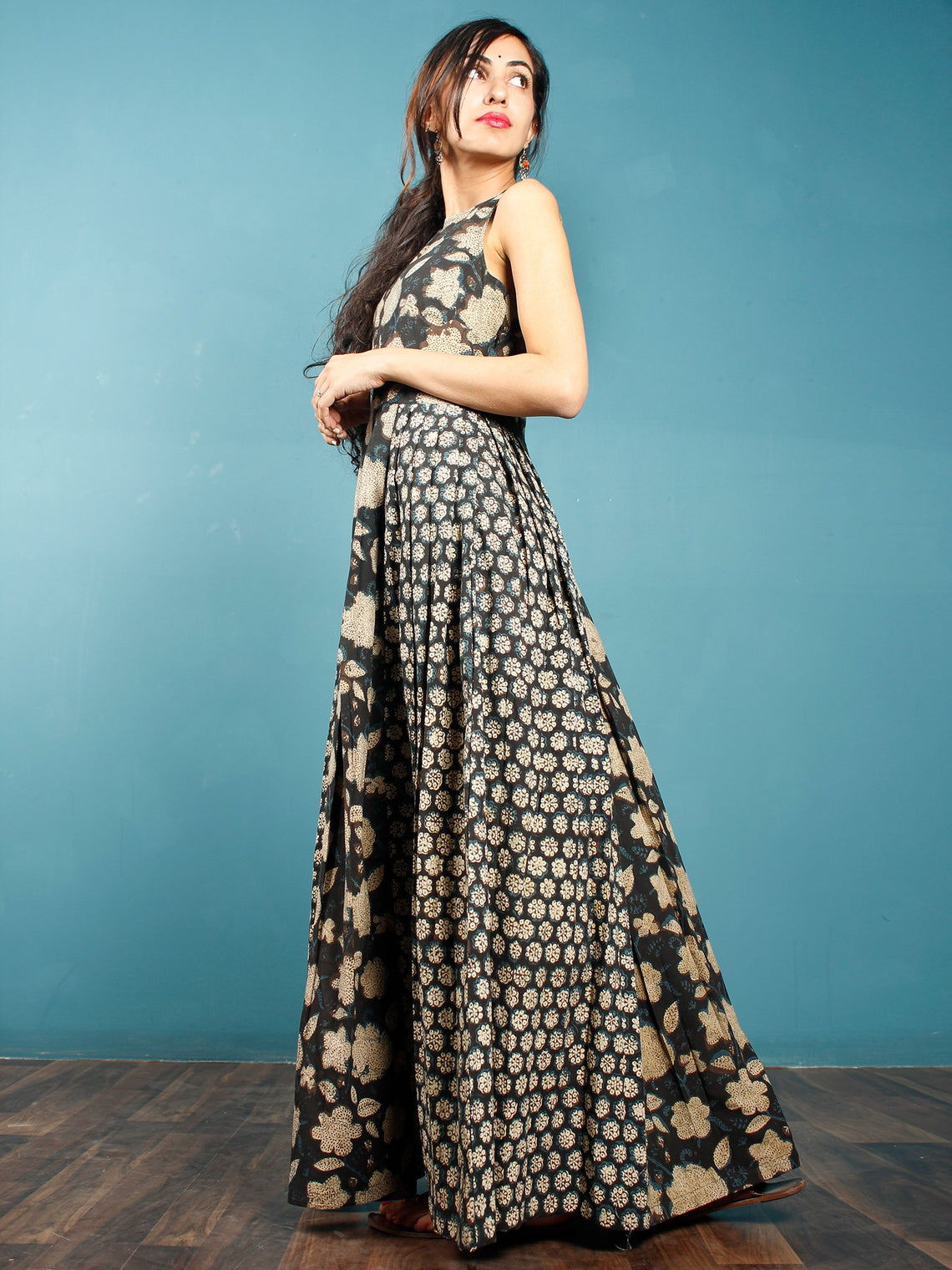 Black Indigo Beige Hand Block Printed Cotton Long Dress With Box And Knife Pleats  - D256F1360