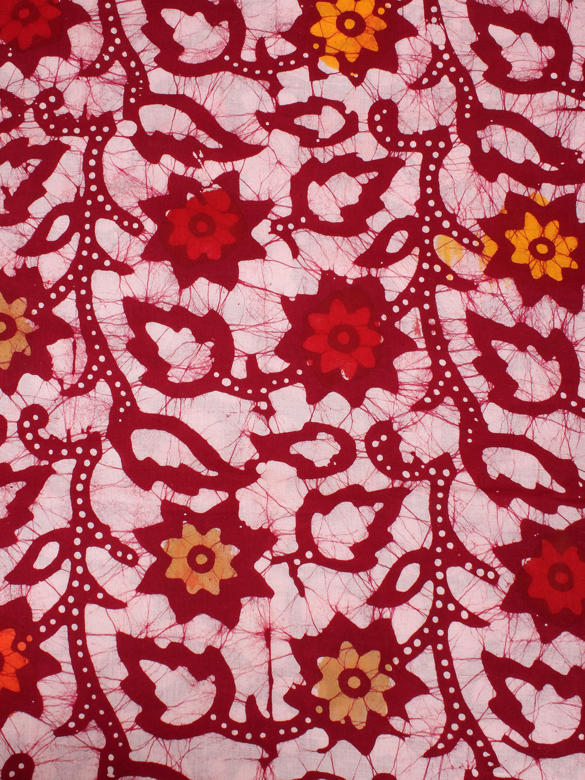 White Multi Color Hand Block Printed Cotton Fabric Per Meter - F0916336
