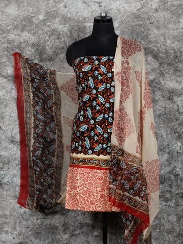 Black Beige Indigo Hand Block Printed Cotton Suit-Salwar Fabric With Chiffon Dupatta (Set of 3) - SU01HB400