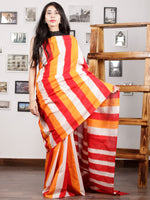 Red Orange Ivory Ikat Handwoven Pochampally Mercerized Cotton Saree - S031701588