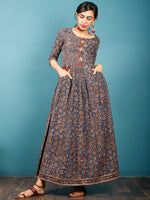 Indigo Black Brown Beige Hand Block Printed Cotton Long Dress With Front Pockets - D259F1378