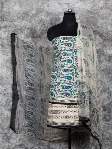Ivory Green Black Hand Block Printed Cotton Suit-Salwar Fabric With Chiffon Dupatta (Set of 3) - SU01HB401