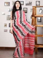 Red Black Ivory Grey Ikat Handwoven Pochampally Mercerized Cotton Saree - S031701416