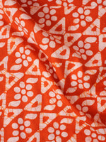 Orange White Hand Block Printed Cotton Fabric Per Meter - F0916347