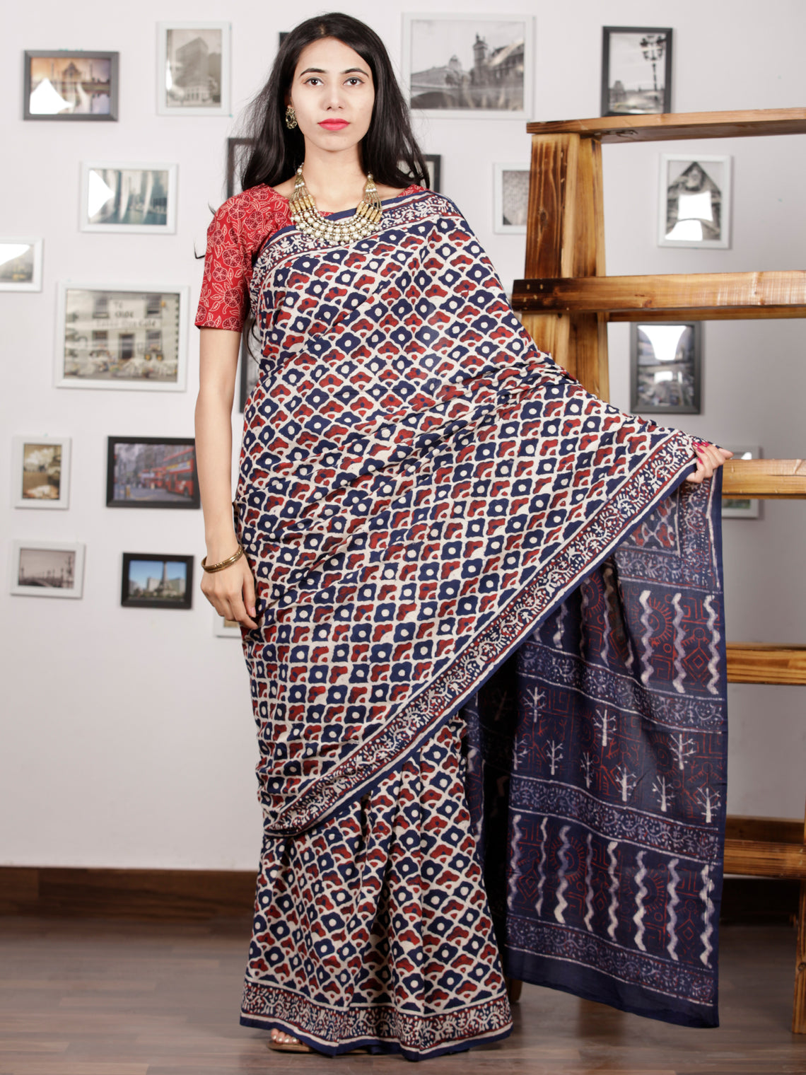 Indigo Red White Hand Block Printed Cotton Mul Saree - S031703002