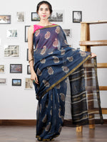 Indigo Maroon Beige Hand Block Printed Maheswari Silk Saree With Zari Border - S031702998