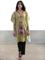 Chartreuse Green Lavender Red Aari Embroidered Short Kashmere Kaftan  - K11K043