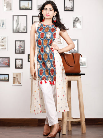 Ivory Blue Maroon Kalamkari Printed & Ikat Sleeveless Cotton Kurta With Tassels - K75F1489