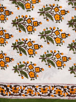 White Orange Green Hand Block Printed Cotton Suit-Salwar Fabric With Chiffon Dupatta (Set of 3) - SU01HB376