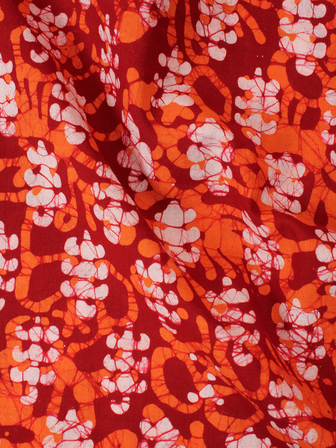 Maroon Pink White Hand Block Printed Cotton Fabric Per Meter - F0916345