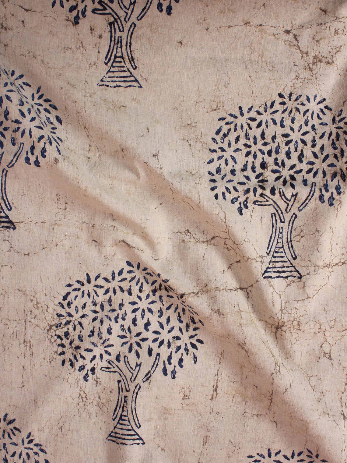 Beige Indigo Natural Dyed Hand Block Printed Cotton Fabric Per Meter - F0916308