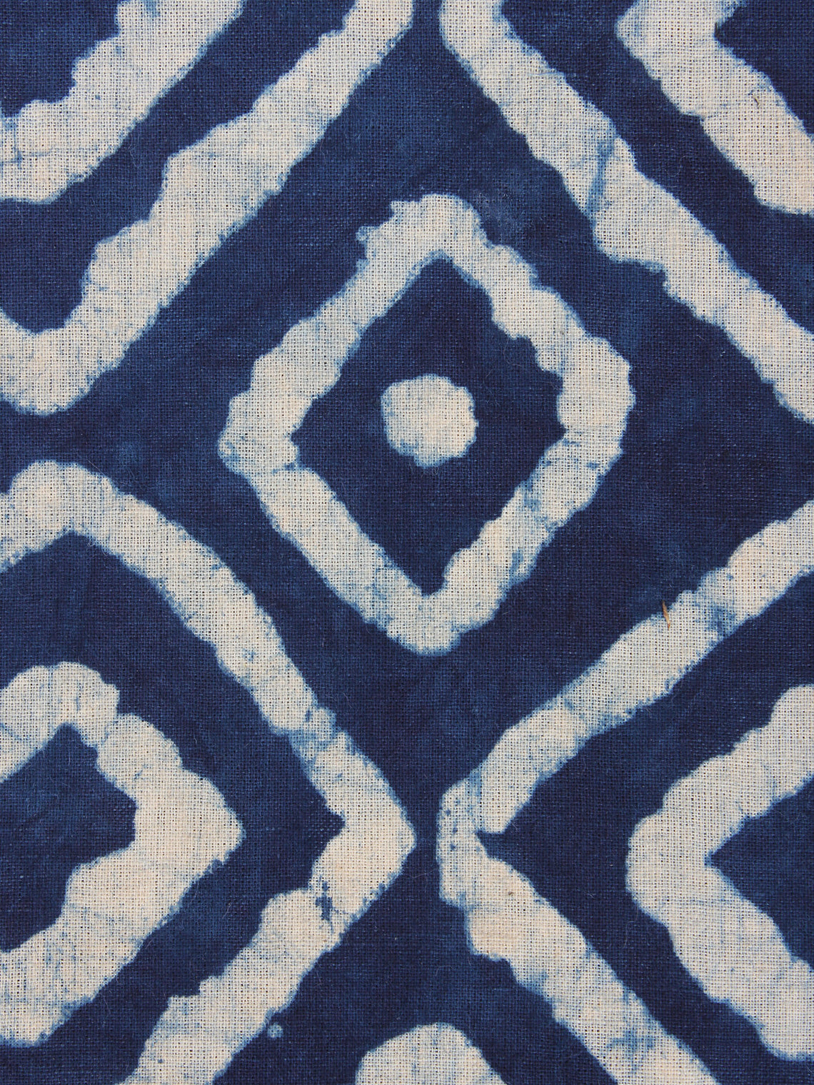 Indigo White Hand Block Printed Cotton Fabric Per Meter - F0916354