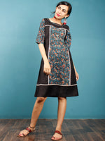 Black Blue Brown Beige Hand Block Printed Cotton Rayon Tunic Dress  - D264F1332