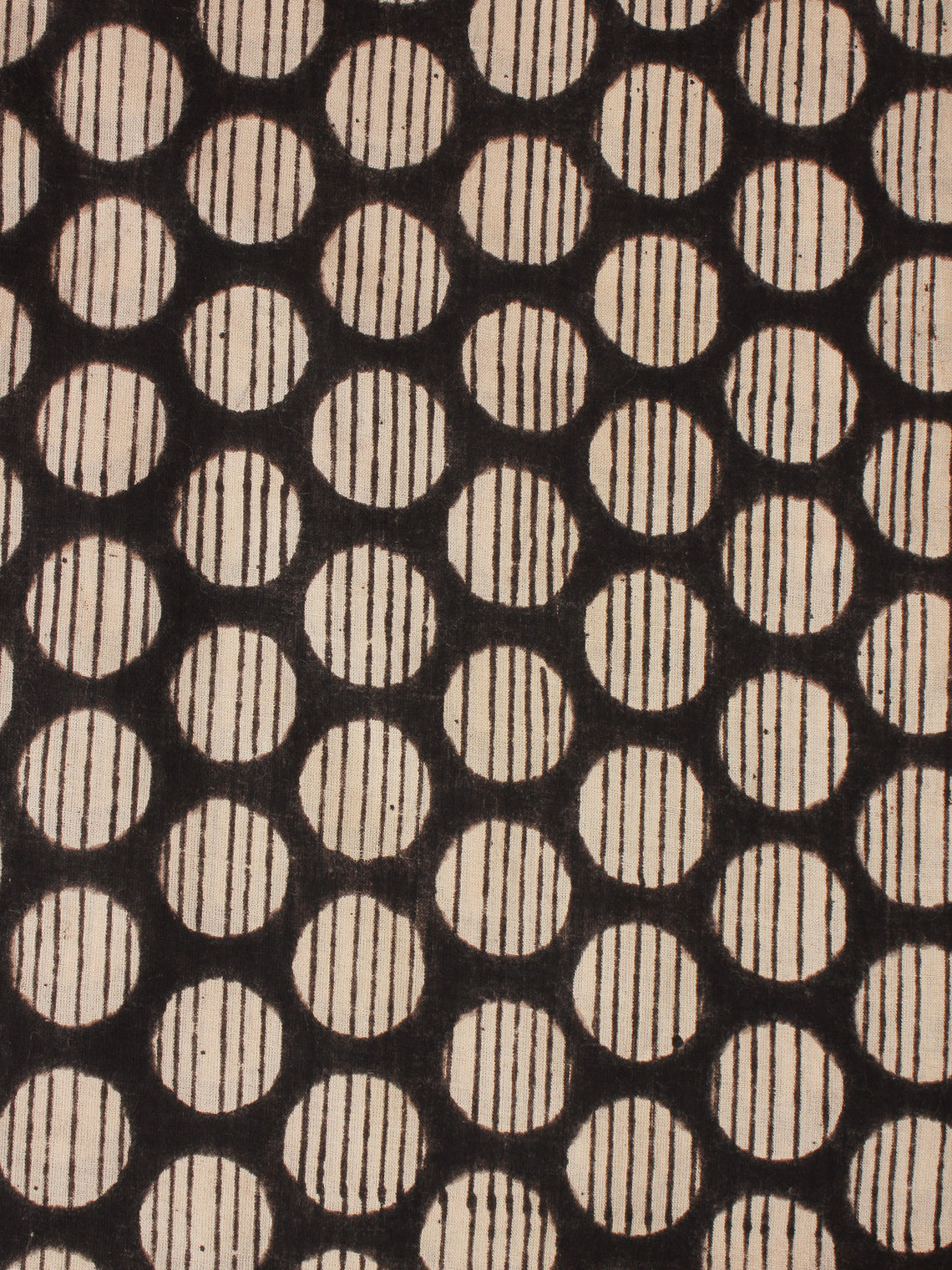 Beige Black Hand Block Printed Cotton Fabric Per Meter - F0916352