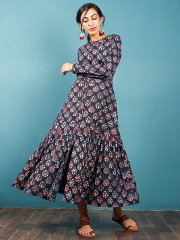 Black Rust Indigo Beige Hand Block Printed Cotton Dress With Front Open - D265F1222