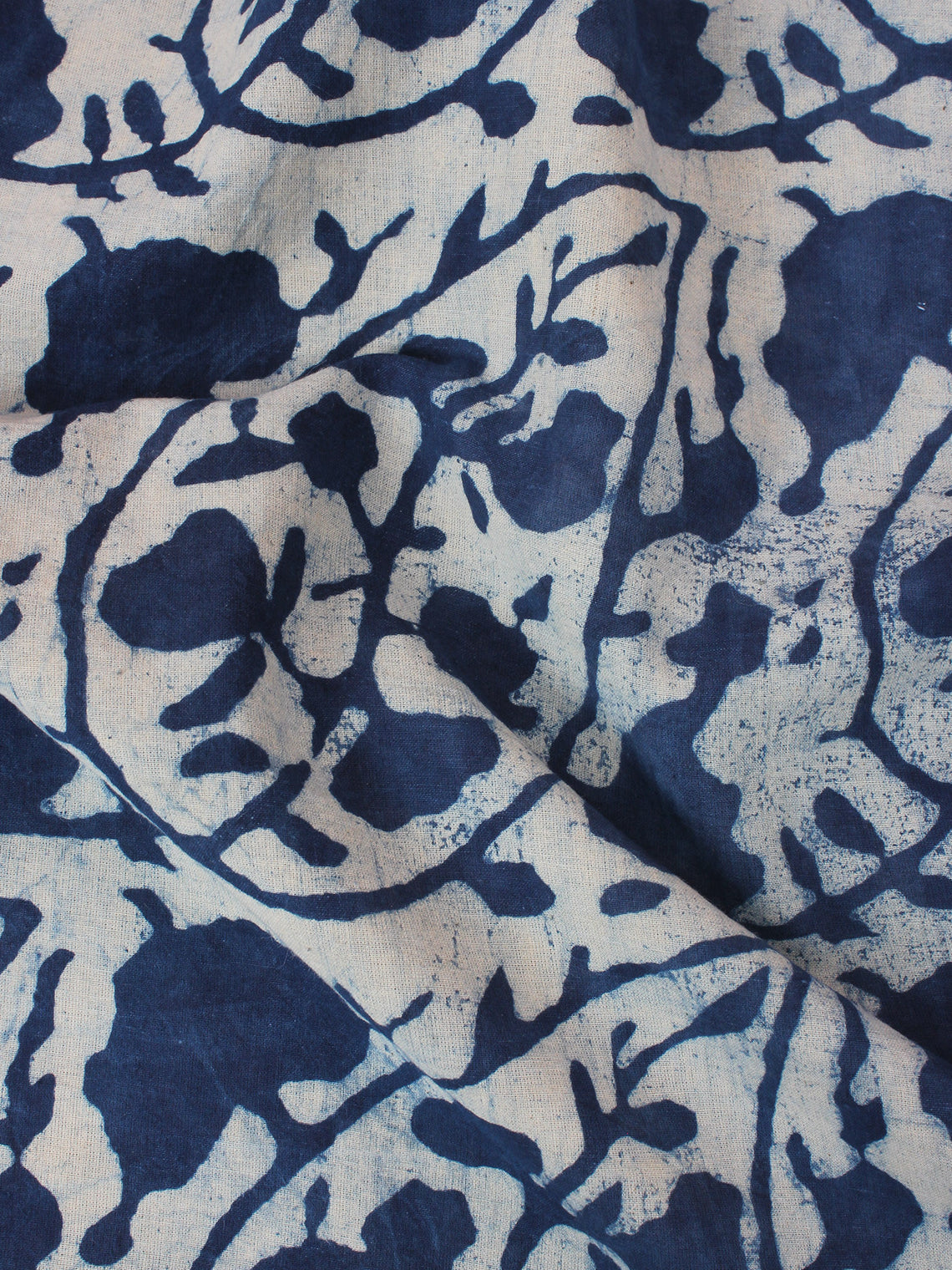 White Indigo Hand Block Printed Cotton Fabric Per Meter - F0916351