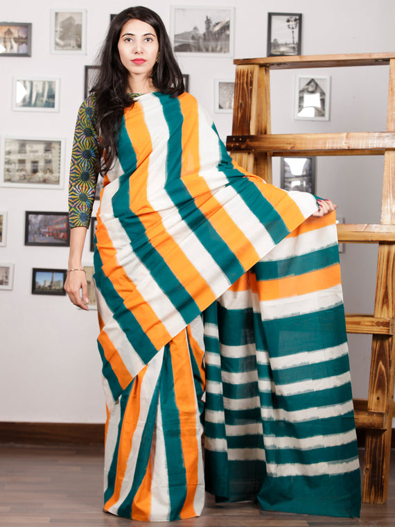 Green Orange White Ikat Handwoven Pochampally Mercerized Cotton Saree - S031701586