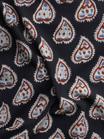 Black White Blue Maroon Hand Block Printed Cotton Fabric Per Meter - F001F997