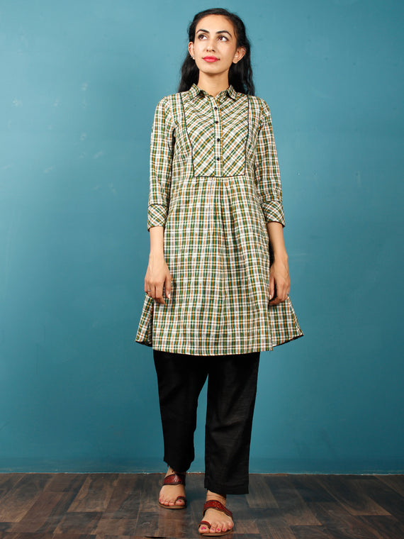 Green Ivory Mustard  Hand Woven Ikat Cotton Check Tunic Cum Dress  - Tun04F1268