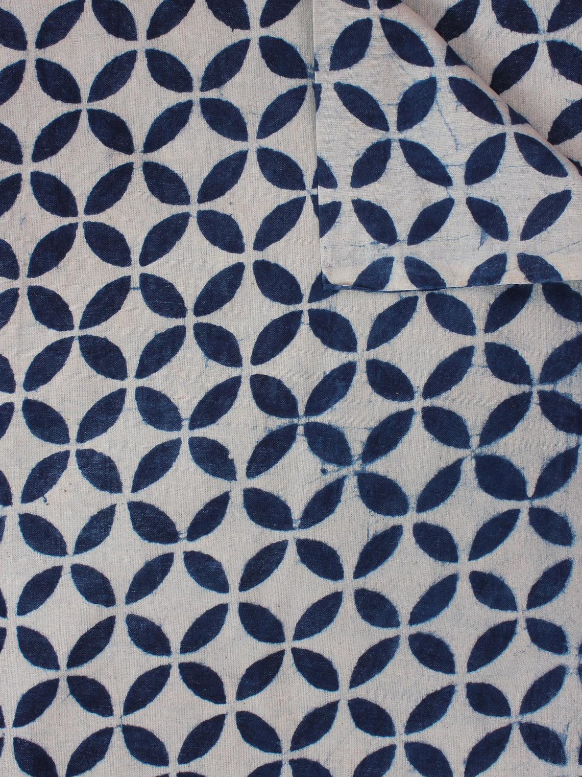 White Indigo Hand Block Printed Cotton Fabric Per Meter - F0916357
