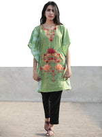 Green Red Orange Aari Embroidered Short Kashmere Kaftan  - K11K044