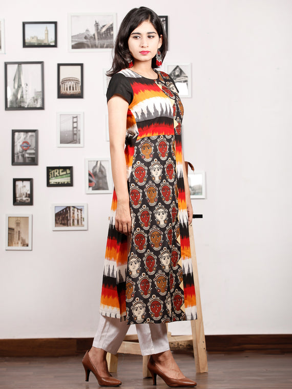 Black Orange Ivory Red Hand Block Printed & Ikat Kurta With Natural Colors - K76F1491