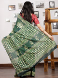 Green Ivory Hand Block Printed Cotton Mul Saree - S031703003