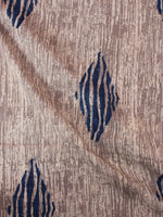 Beige Indigo Natural Dyed Hand Block Printed Cotton Fabric Per Meter - F0916299
