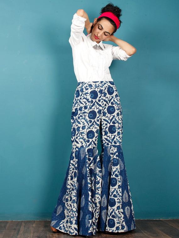 Indigo White Hand Block Printed Semi Elasticated Waist Cotton Sharara  - Sh03F1106