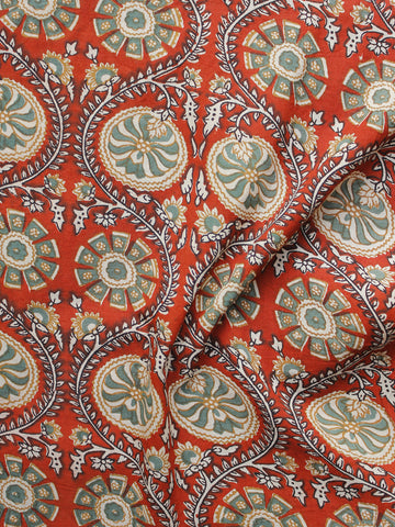 Red Teal Green Black Ivory Hand Block Printed Cotton Fabric Per Meter - F001F1005